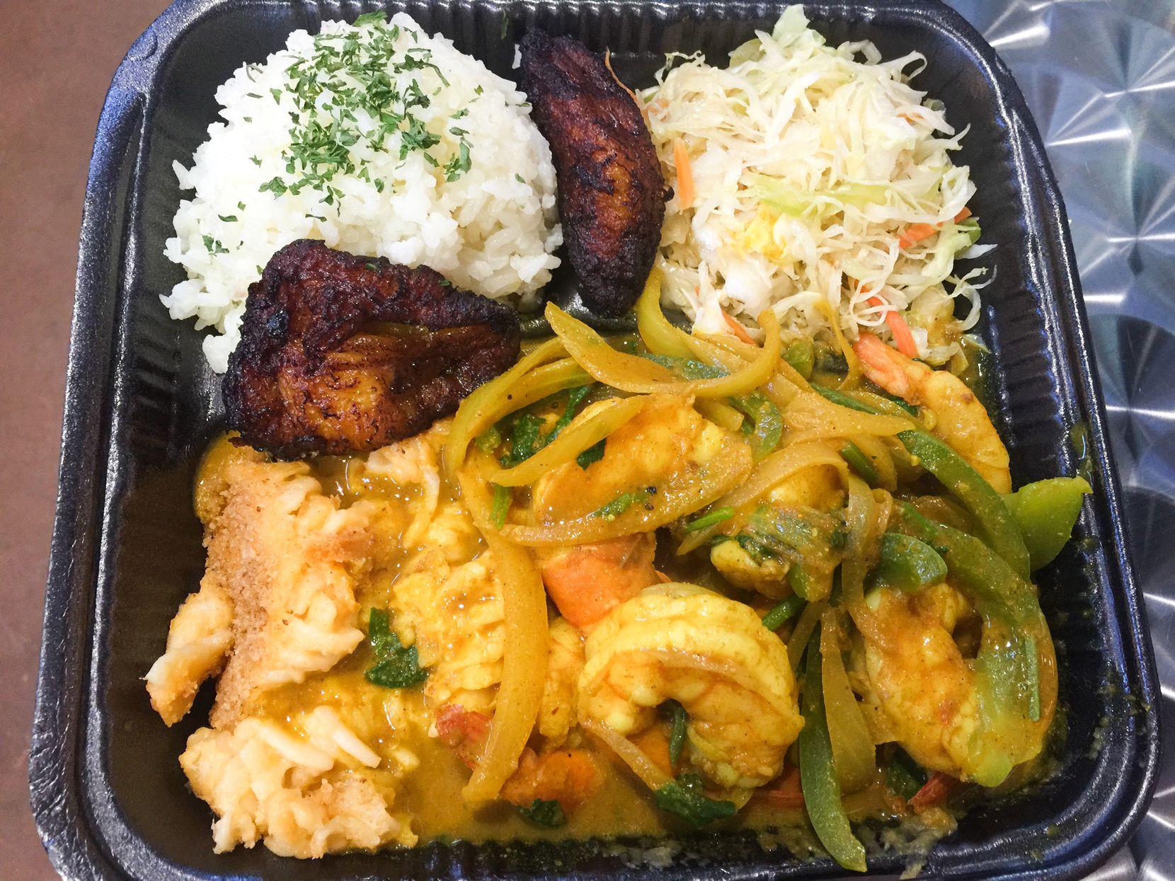 Shrimp curry at the Caribbean Cabana