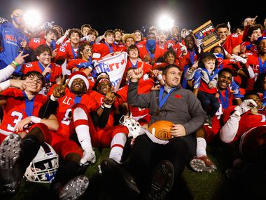 Parish Episcopal celebrate their win after winning the TAPPS Division I state football championship game against Fort Worth Nolan at Panther Stadium in Waco on Saturday, Dec. 12, 2020. (Juan Figueroa/ The Dallas Morning News)