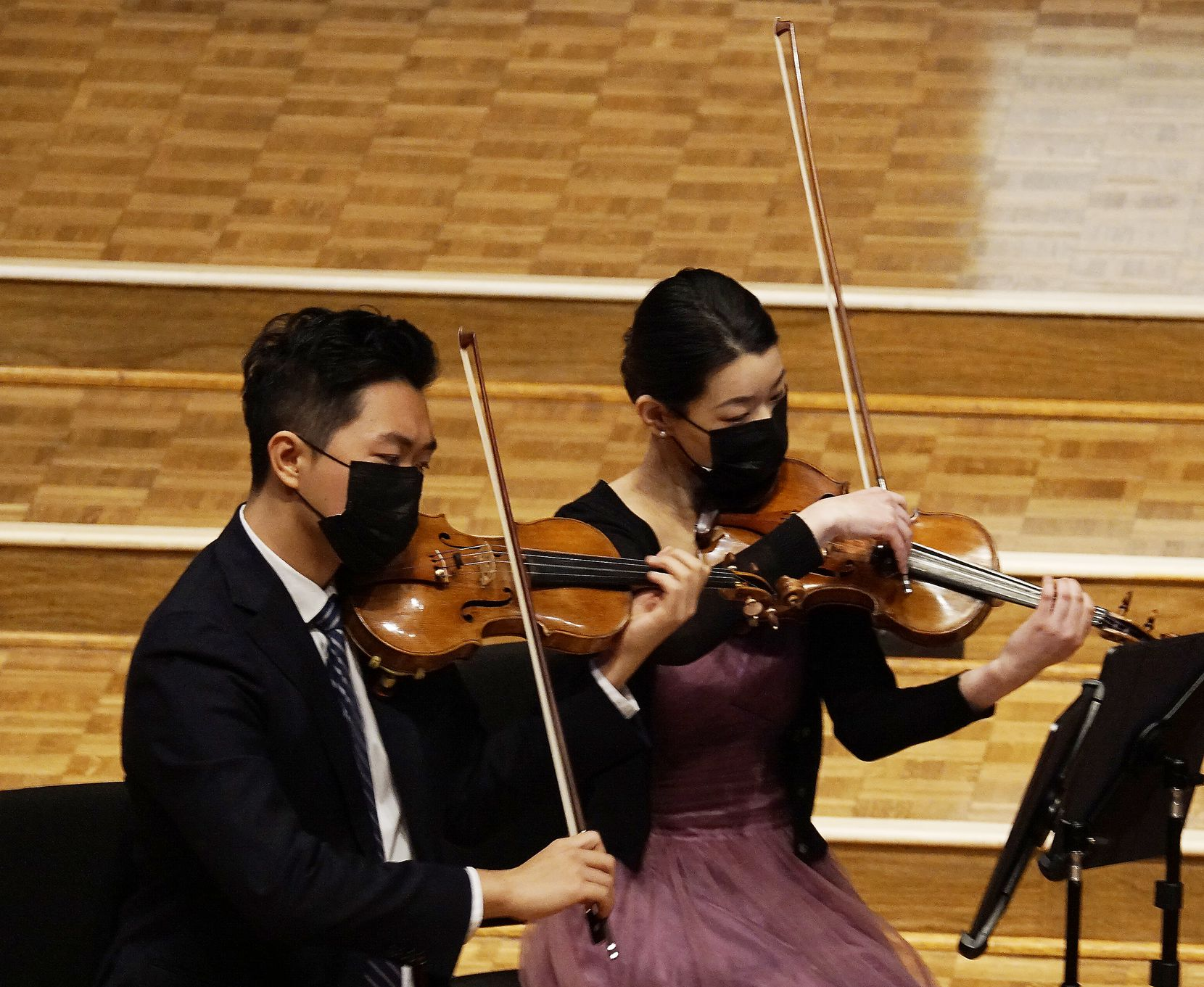Violinists Hao Zhou and Lucy Wang play with the Viano String Quartet at Lovers Lane United Methodist Church in Dallas on March 8.