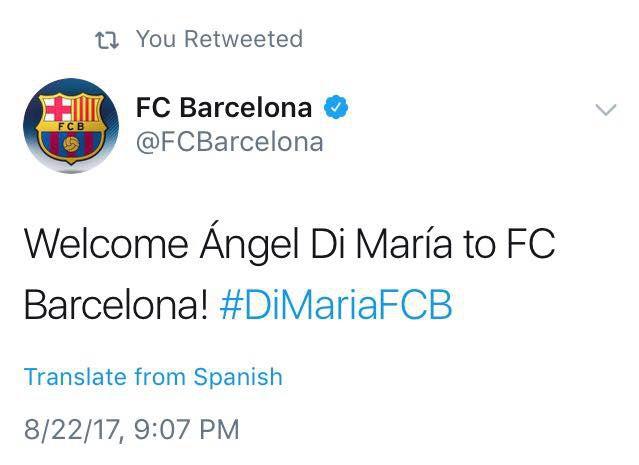 Captura de pantalla de la cuenta de Twitter del Barcelona donde se la hackeó para anunciar la llegada de Ángel Di María al club azulgrana.