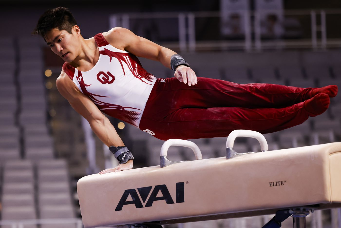 University of Oklahoma's Genki Suzuki performs on the pommel horse during Day 1 of the US gymnastics championships on Thursday, June 3, 2021, at Dickies Arena in Fort Worth. (Juan Figueroa/The Dallas Morning News)
