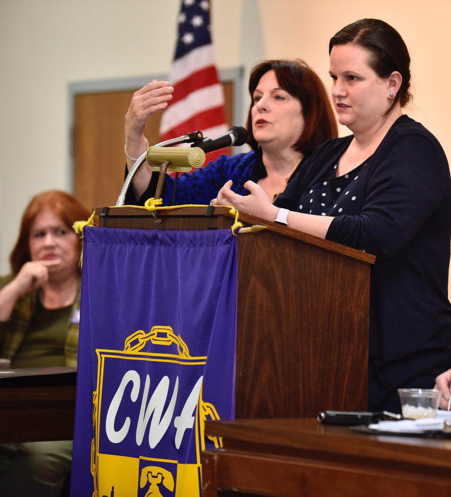 Carol Donovan (center), chairwoman of the Dallas County Democratic Party, and Sarah Duncan, the Democratic Party lawyer answered questions Monday night from concerned officials and candidates about a lawsuit filed by the Dallas Republican Party.