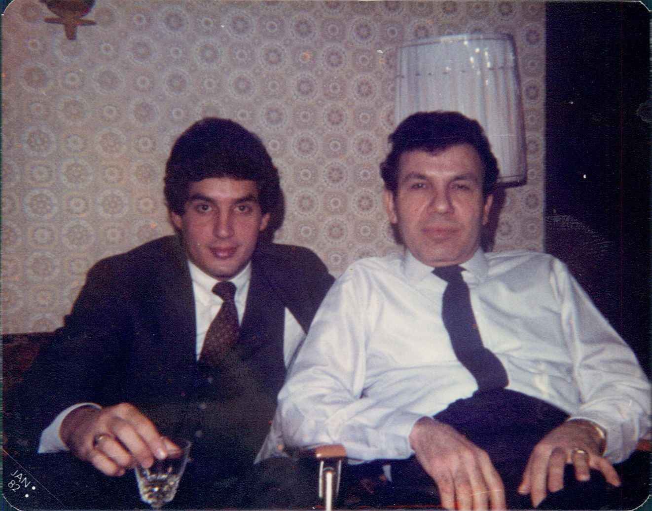 Steve Demetriou with his father in 1982, when Steve was working at Exxon Mobil.