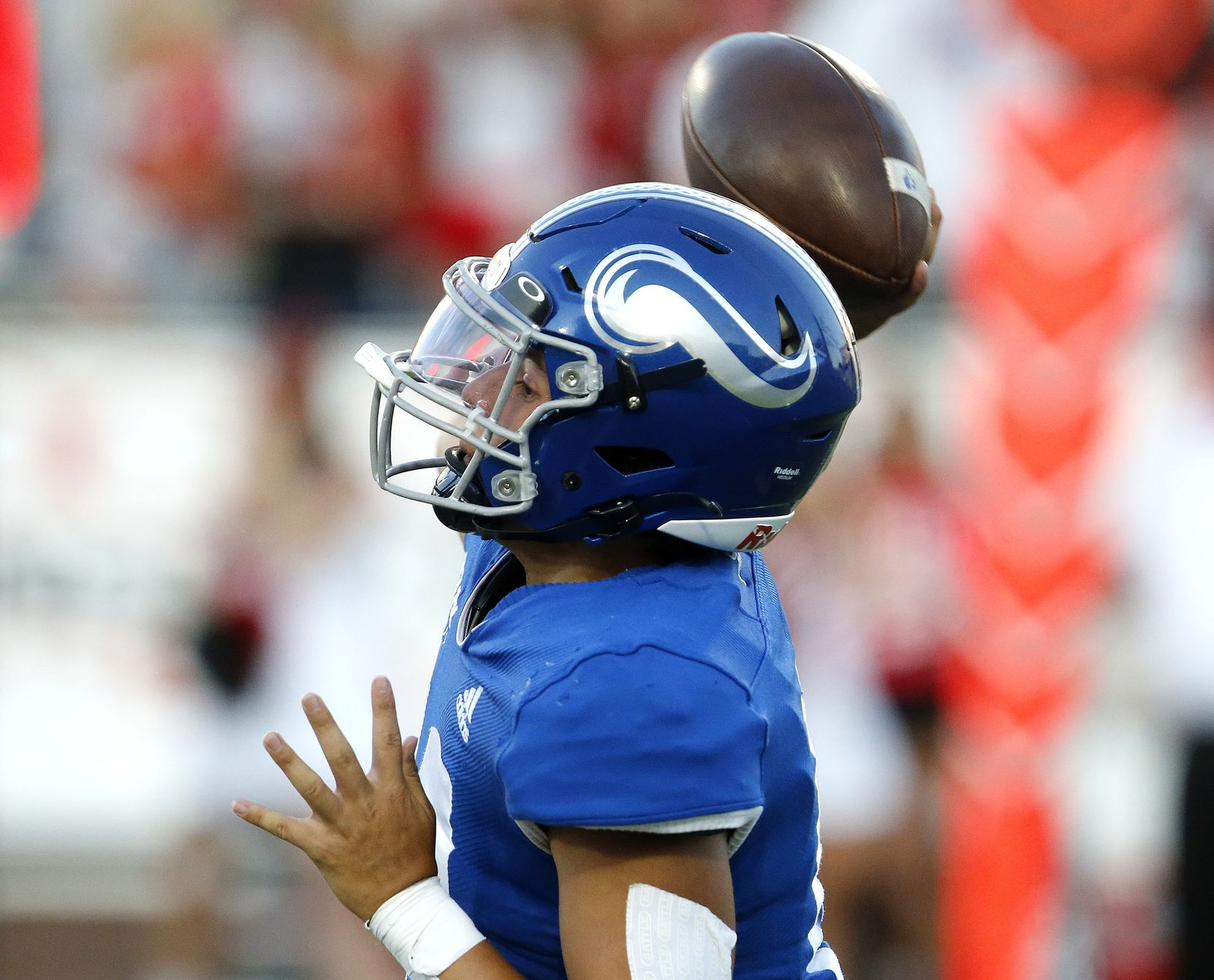 Nolan Catholic High School quarterback Cole Matsuda (10) launches a pass during the first half as Argyle High School hosted Nolan Catholic High School at Eagle Stadium in Allen on Saturday evening, August 28, 2021. (Stewart F. House/Special Contributor)