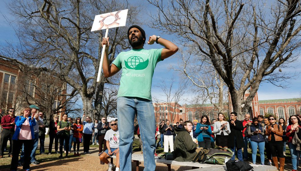 "Indian student Gnana Subramaniam speaks to a crowd during a ""Rally for Diversity"" on the campus of the University of Oklahoma  in Norman on Monday, Jan. 30, 2017, in reaction to the president's executive order temporarily blocking U.S. entry to citizens from seven nations. (Paul Hellstern,/The Oklahoman)"