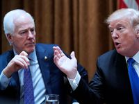Sen. John Cornyn listens to President Donald Trump during a meeting with bipartisan members of Congress on school and community safety in the Cabinet Room of the White House on February 28, 2018.
