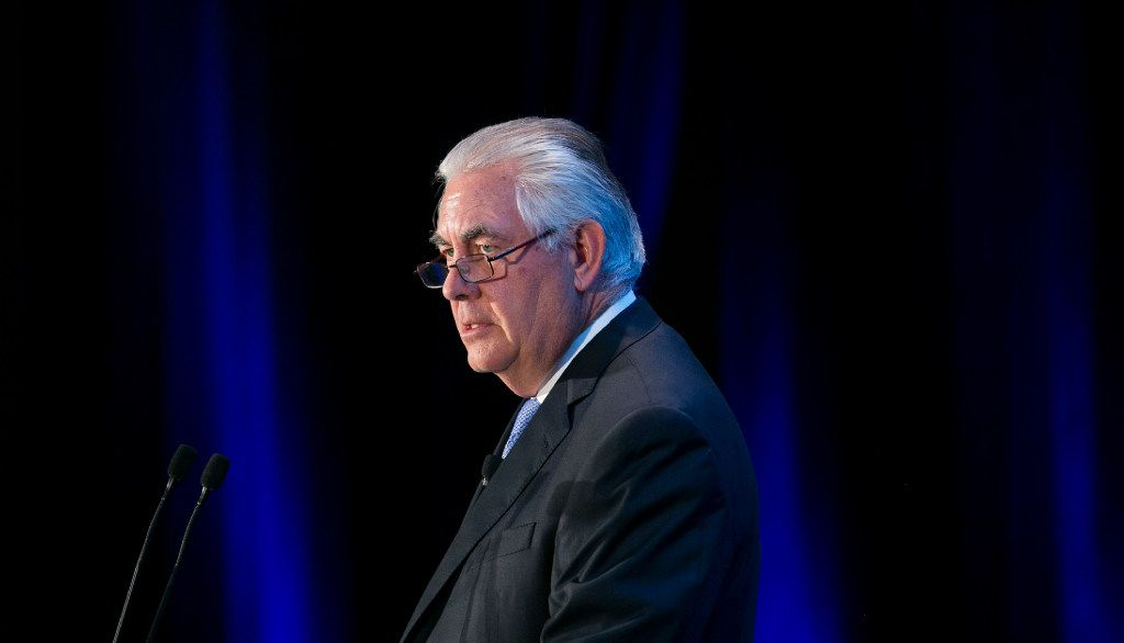 Rex Tillerson, Chairman, President and CEO of Exxon Mobil Corporation speaks during an Economic Club of Washington event on March 12, 2015 in downtown Washington, D.C. (Kristoffer Tripplaar/Sipa USA/TNS)