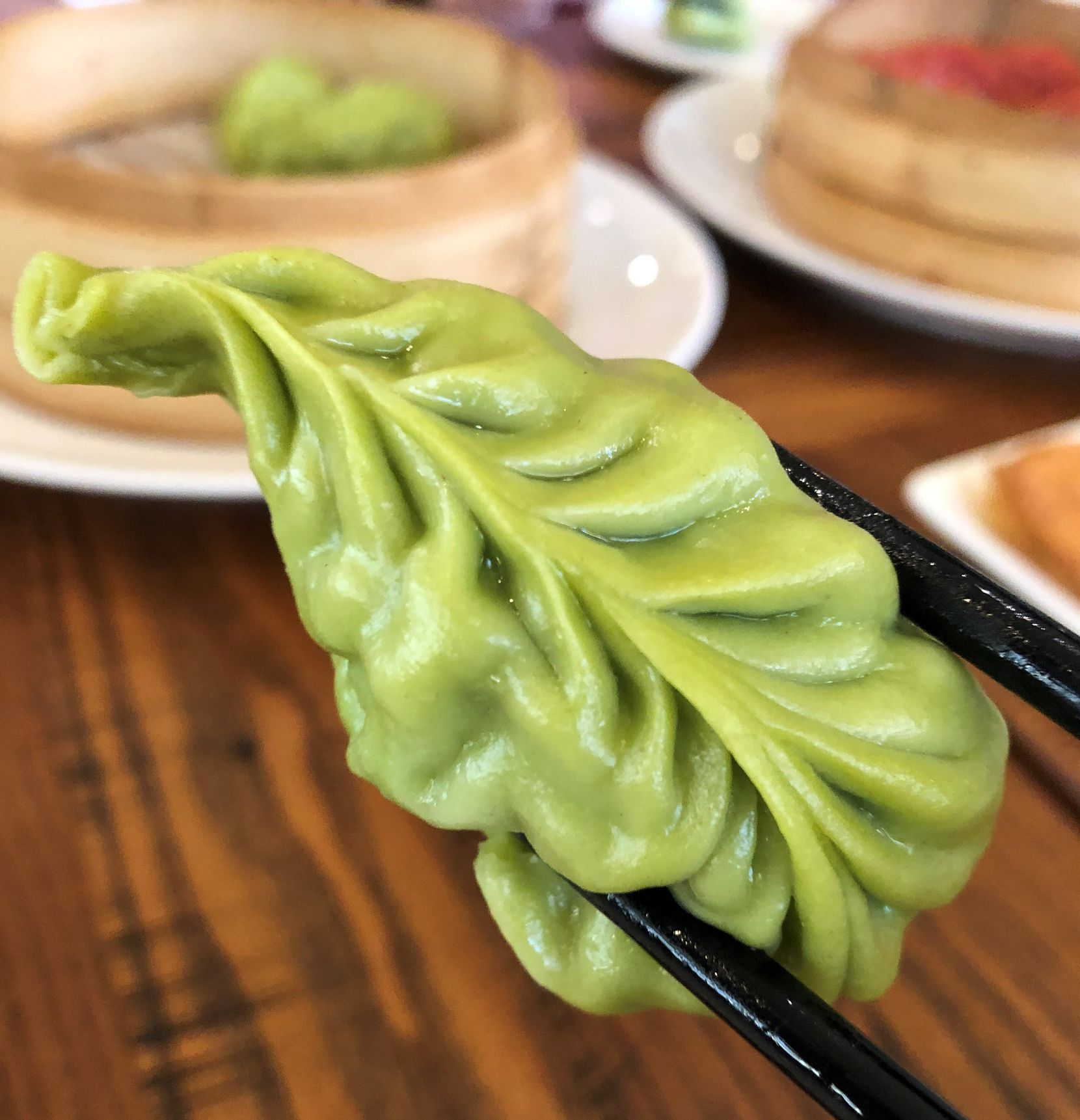A steamed vegetable dumpling