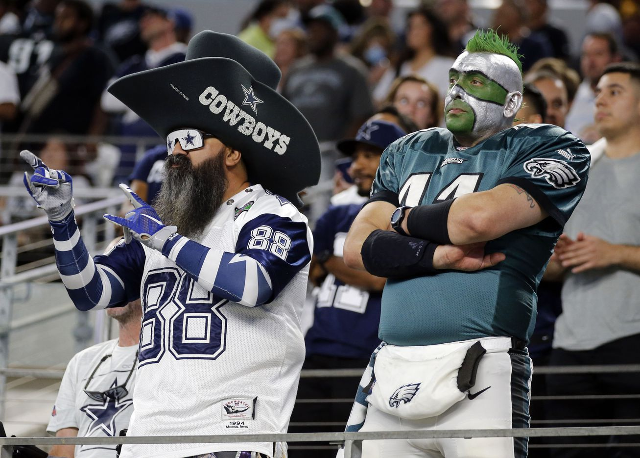 Opposing fans sport different looks at the end of the Dallas' Cowboys 41-21win over the Philadelphia Eagles at AT&T Stadium in Arlington on Monday, September 27, 2021. (John F. Rhodes / Special Contributor)