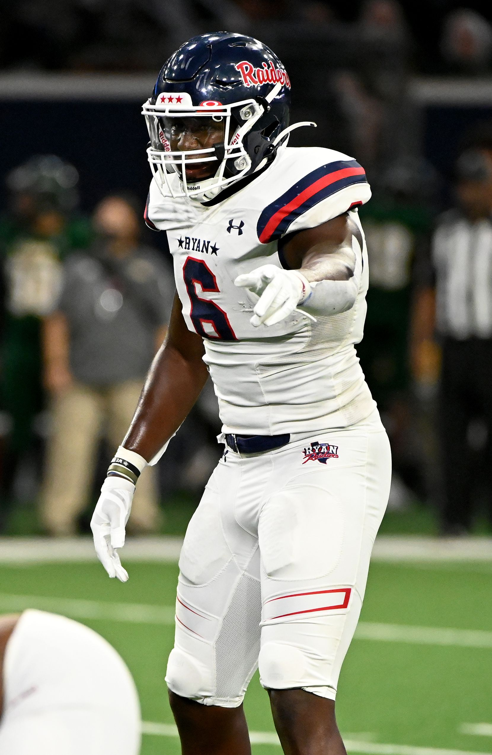 Anthony Hill Jr. lines up on defense in the first half during a high school football game between Longview and Denton Ryan, Saturday, Aug. 28, 2021, in Frisco, Texas. (Matt Strasen/Special Contributor)