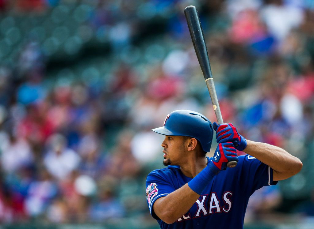 Texas Rangers first baseman Ronald Guzman (11) bats during the eighth inning of an MLB game between the Texas Rangers and the Seattle Mariners on Sunday, September 1, 2019 at Globe Life Park in Arlington. (Ashley Landis/The Dallas Morning News)