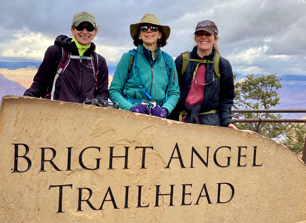 Sisters Lynda Transou (from left), Lane Transou and Michelle Transou Neary did a 17-mile Grand Canyon hike in the Grand Canyon to celebrate Lynda's 70th birthday.