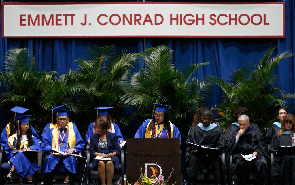 Conrad High valedictorian Eleni T-Giorgs addresses the crowd at graduation.
