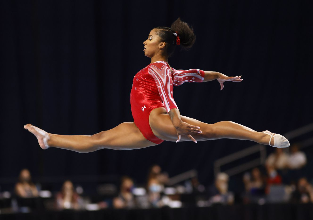 Jordan Chiles during her floor routine during day 2 of the women's 2021 U.S. Olympic Trials at The Dome at America's Center on Saturday, June 27, 2021 in St Louis, Missouri.(Vernon Bryant/The Dallas Morning News)