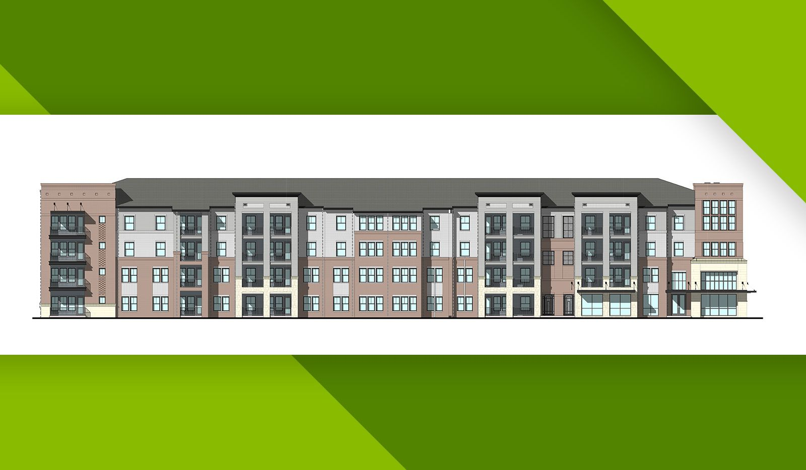 A rendering of what the 329 apartment and townhome units will look like at LIV Development's latest project in downtown Prosper.