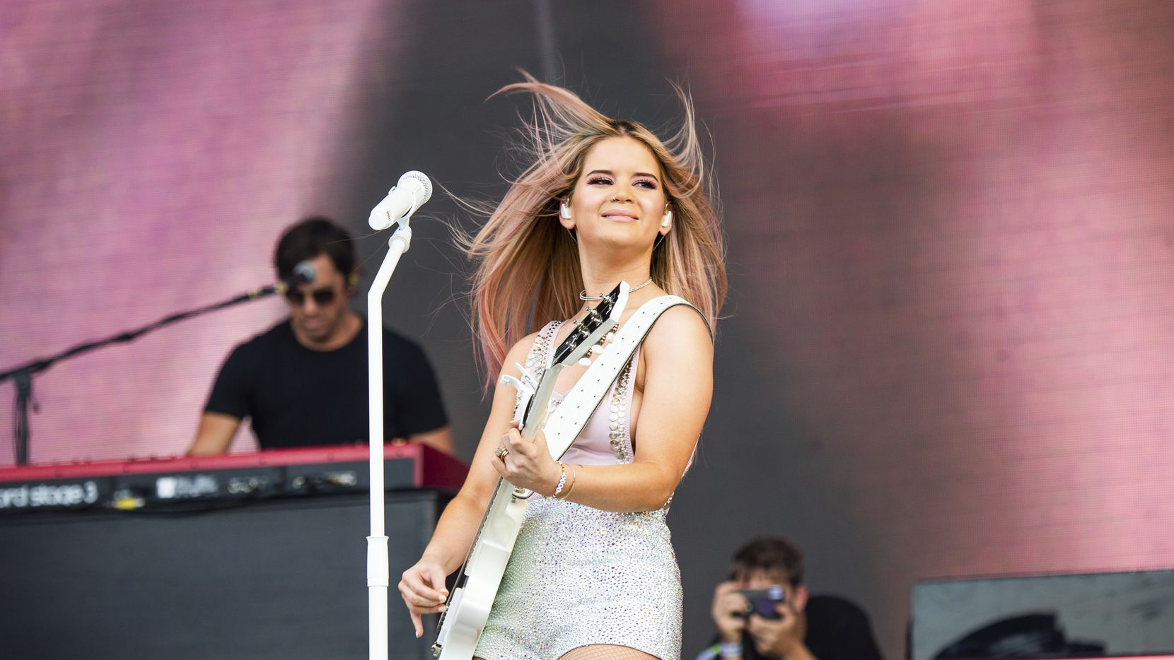 This June 15, 2019 file photo shows Maren Morris performing at the Bonnaroo Music and Arts Festival in Manchester, Tenn.