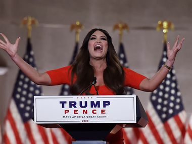 Kimberly Guilfoyle speaks during the first day of the Republican convention at the Mellon auditorium on Aug. 24, 2020 in Washington.