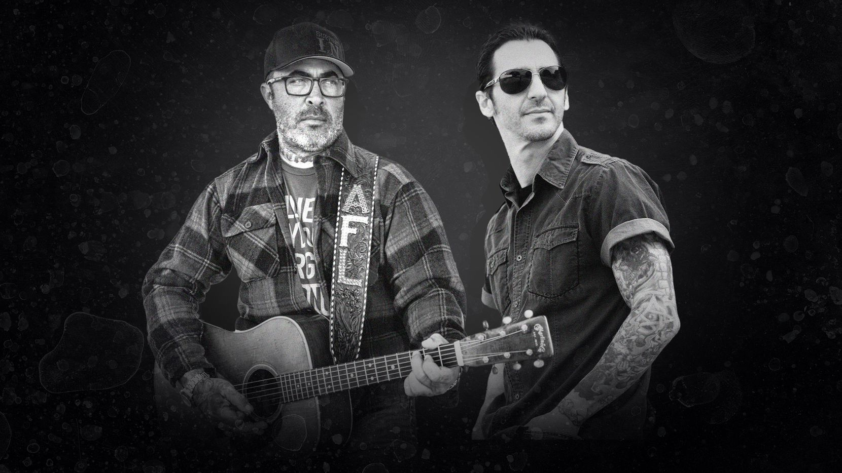 """Staind singer Aaron Lewis (left) and Godsmack vocalist Sully Erna will team up for a mostly acoustic """"drive-in concert"""" at Fair Park on Oct. 27."""