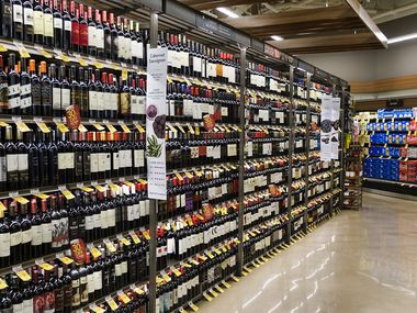 Wine and beer section in the Tom Thumb at the Union in Uptown Dallas.