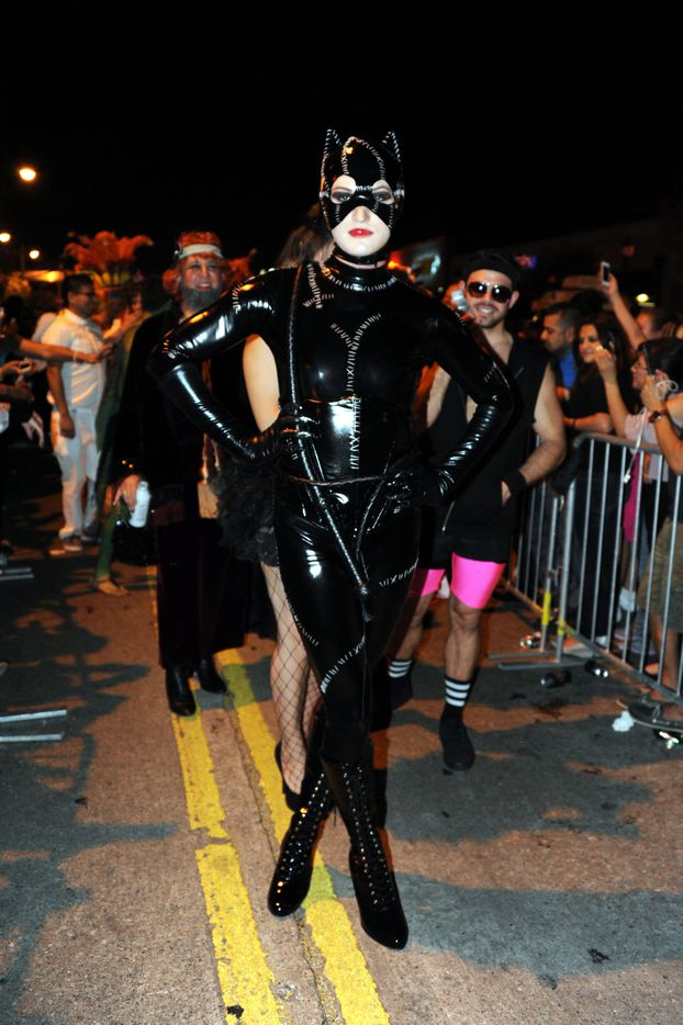 Donnie Smith dresses as Catwoman at the annual Oak Lawn Halloween Block Party in Dallas, TX on October 25, 2014. (Alexandra Olivia/ Special Contributor)
