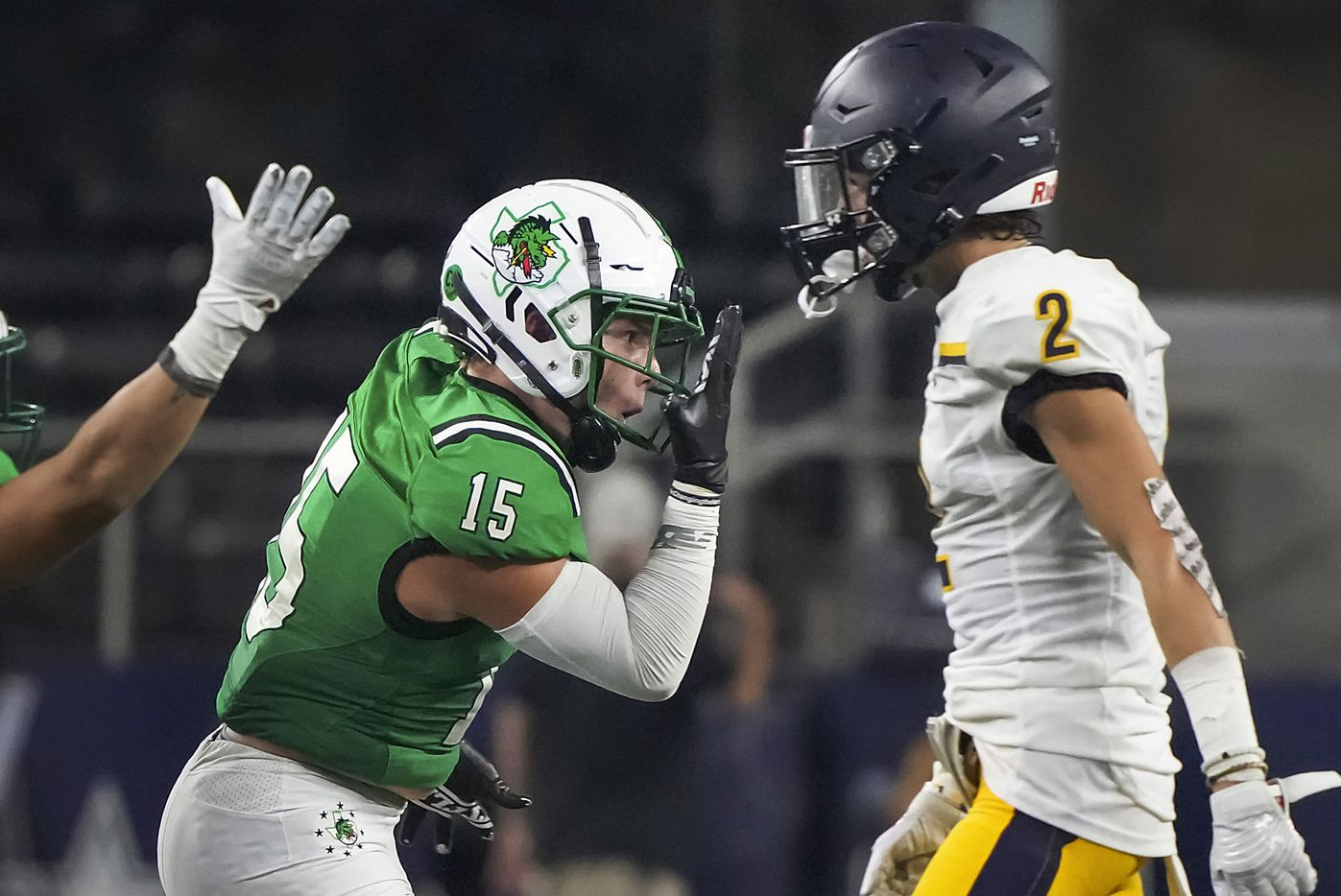 Southlake Carroll linebacker Allan Kleiman (15) celebrates after intercepting a pass during the second half of a high school football game against Highland Park at AT&T Stadium on Thursday, Aug. 26, 2021, in Arlington.