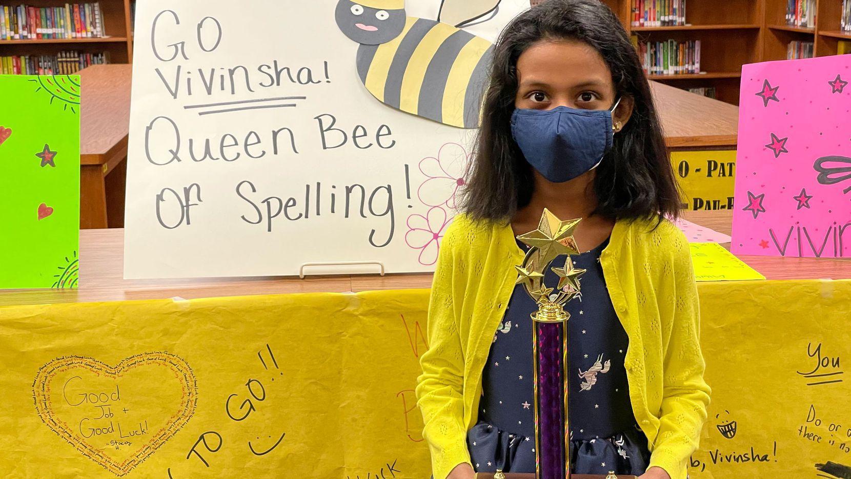 Vivinsha Veduru, 10, is one of two North Texas finalists headed to the Scripps National Bee in Florida next week.