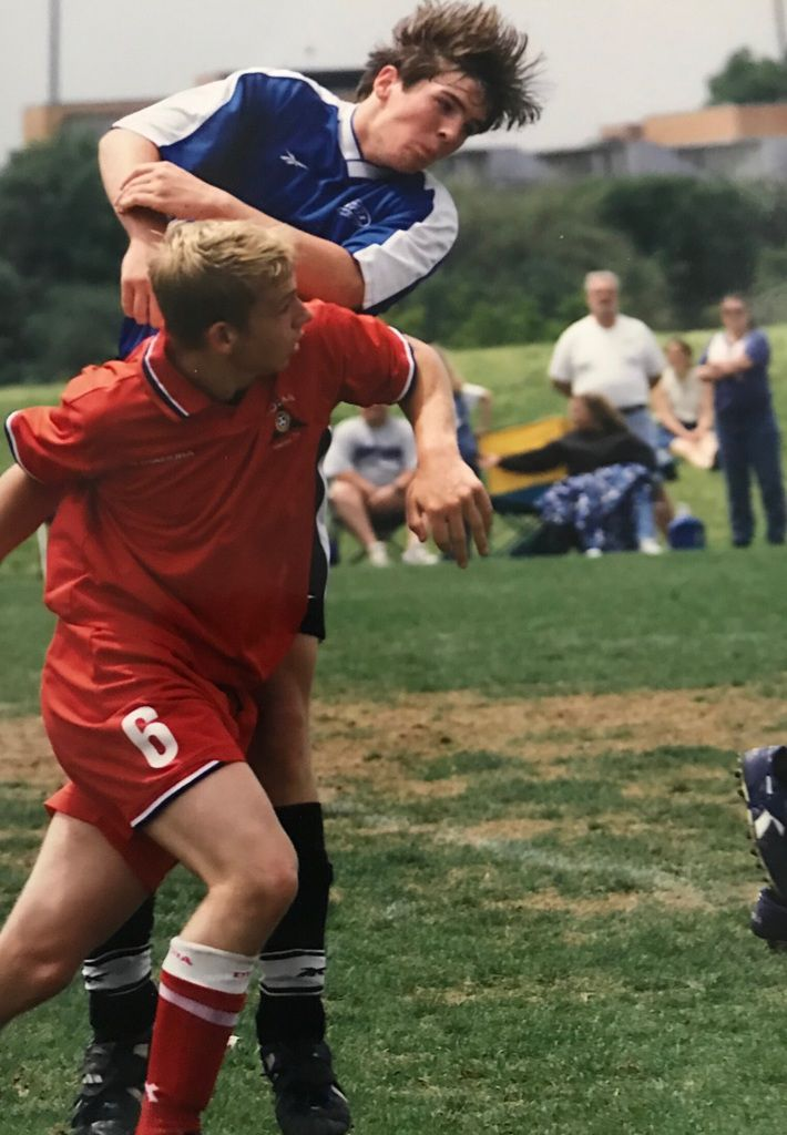 Richardson Pearce assistant soccer coach Tommy Lamberth, pictured here in 2001 playing for Dallas Inter Soccer Club, was never diagnosed with a concussion when he played, but he hopes to spread awareness of head injuries to his own players. Lamberth graduated from Lake Highlands in 2004. (Courtesy/Tommy Lamberth)