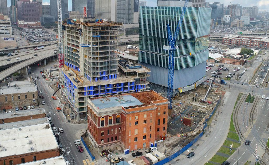 The Epic development under construction in Deep Ellum includes an office tower (offset shapes at right), high-rise apartments (left) and luxury hotel (lower front).