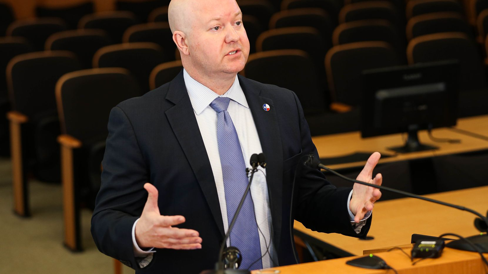 In this file photo, Collin County Judge Chris Hill speaks about the coronavirus at a March 9 press conference 9 in McKinney.