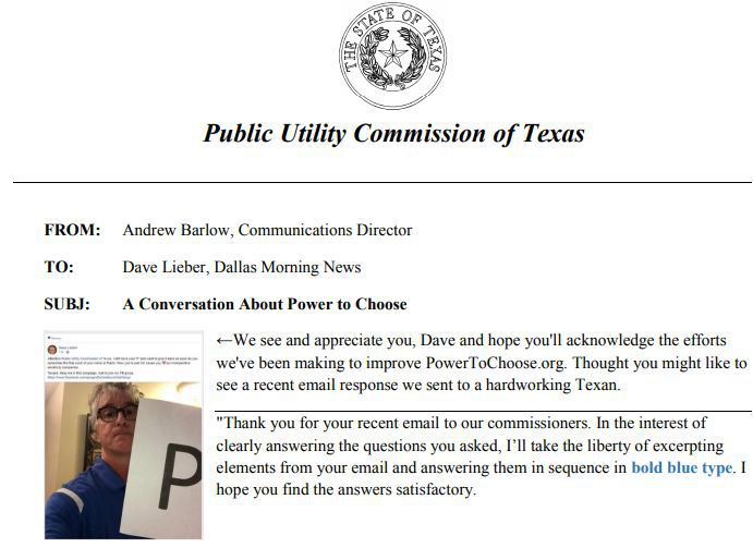 Screen shot of the top portion of the PUC's letter defending its improvements. A link to the full letter follows the end of this watchdog column.
