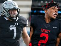 Denton Guyer's Cooper Lanz (left) and Euless Trinity's Ollie Gordon.
