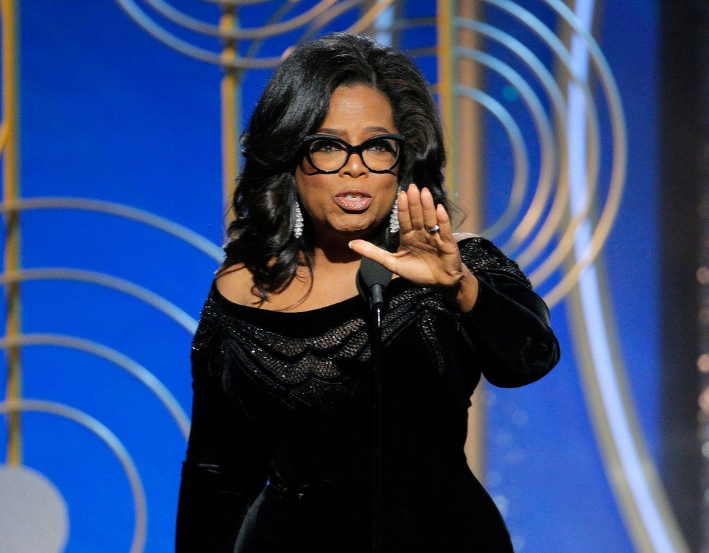 Oprah Winfrey accepting the Cecil B. DeMille Award at the 75th Annual Golden Globe Awards in Beverly Hills, Calif., on Jan. 7.