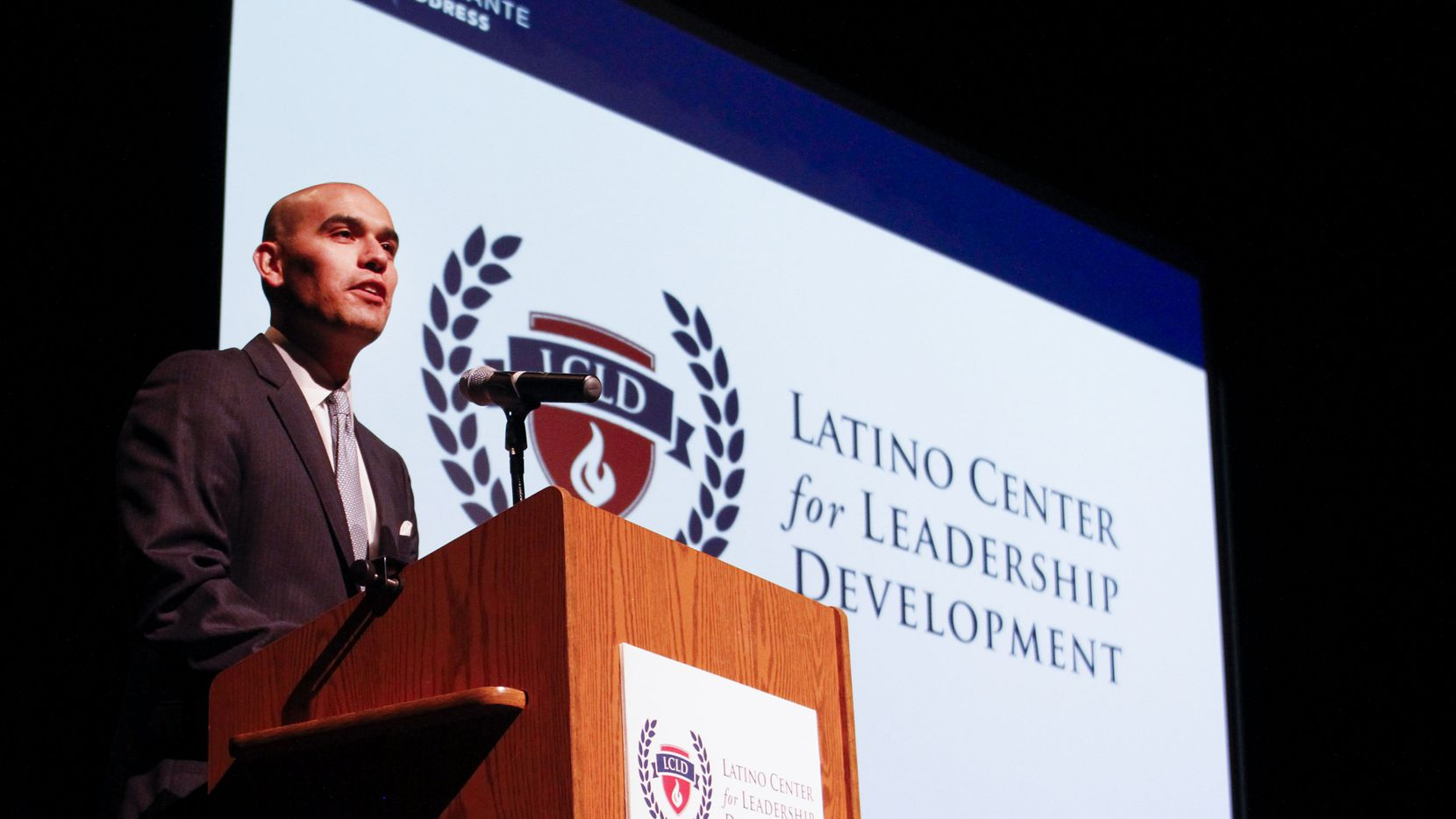 Latino Center for Leadership Development President Miguel Solis speaks to a crowd during the 2019 Adelante Address at the Latino Cultural Center in Dallas on Saturday, March 09, 2019.