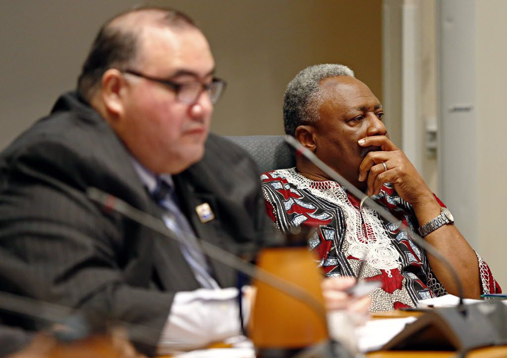 """Panelists Joe Tave (right) and John H. Martinez listen during """"Conversations About RACE"""" Saturday, February 22, 2014 at Dallas City Hall. Tave is running for City Council District 8 against Casey Thomas. (G.J. McCarthy/The Dallas Morning News)"""