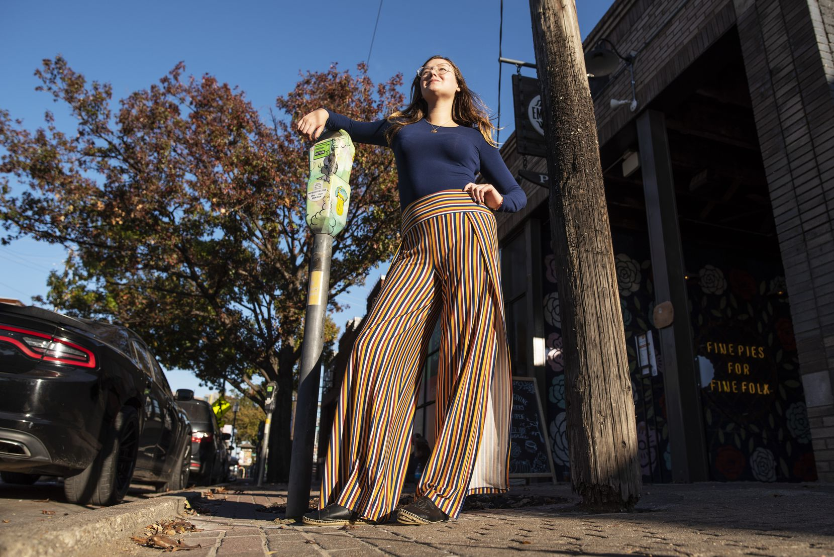 Emmy Hancock, founder of Dallas social impact retail startup Oluna, wears a style of pants called Haley. For each pair of pants sold, a year's supply of menstrual products will be donated to a woman in need.