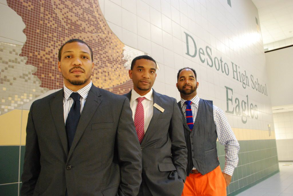 DeSoto ISD board of trustees President Warren Seay Jr. (center) and fellow trustees Carl Sherman Jr. (left) and Aubrey C. Hooper form a 30-and-under bloc on the board, a rarity in education.