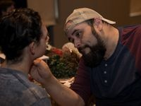 Dallas theater teacher Mark C. Guerra works with a performer before a production. Guerra died Tuesday at 43.
