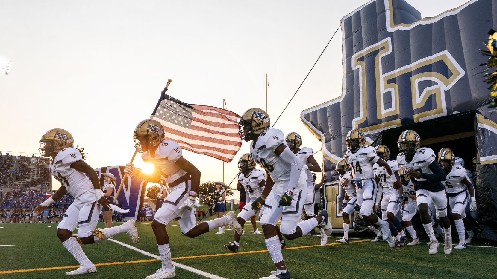 Little Elm takes the field before a high school football game against Plano West on Friday, Sept. 10, 2021 at John Clark Stadium in Plano, Texas. (Jeffrey McWhorter/Special Contributor)