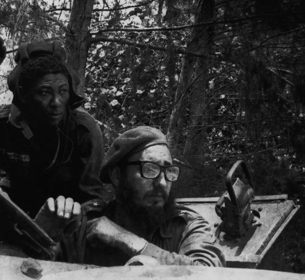 Fidel Castro (R) looking out from a tank during the Bay of Pigs combats in Cuba  April 1961.   During the Bay of Pigs invasion, a US backed assault by 1,400 Cuban exiles failed to bring down Fidel Castro's two year old government.