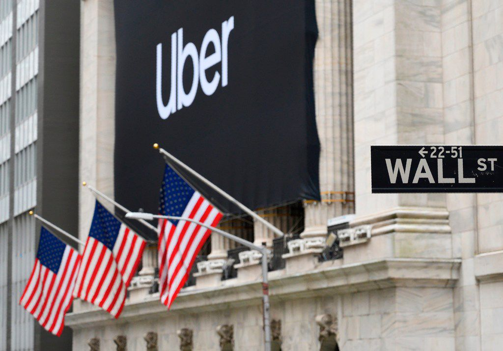 An Uber banner adorned the facade of the New York Stock Exchange ahead of the ride sharing company's IPO in May.