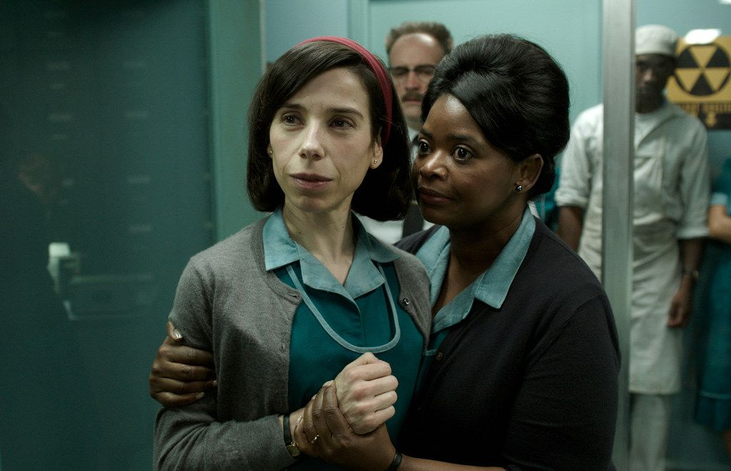 """This image released by Fox Searchlight Pictures shows Sally Hawkins, left, and Octavia Spencer in a scene from the film """"The Shape of Water,"""" Chris Vognar's No. 1 movie of 2017.  (Fox Searchlight Pictures via AP)"""