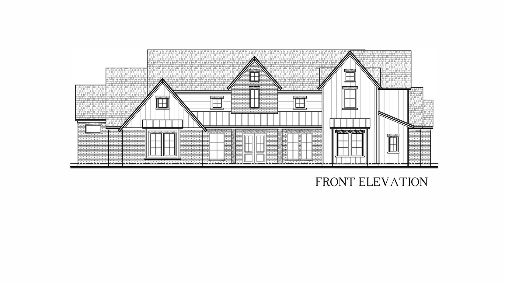 This is an artist's rendering of the modern farmhouse that will be built on 1 wooded acre at 2516 Mosley Court in Cedar Hill, near Joe Pool Lake.