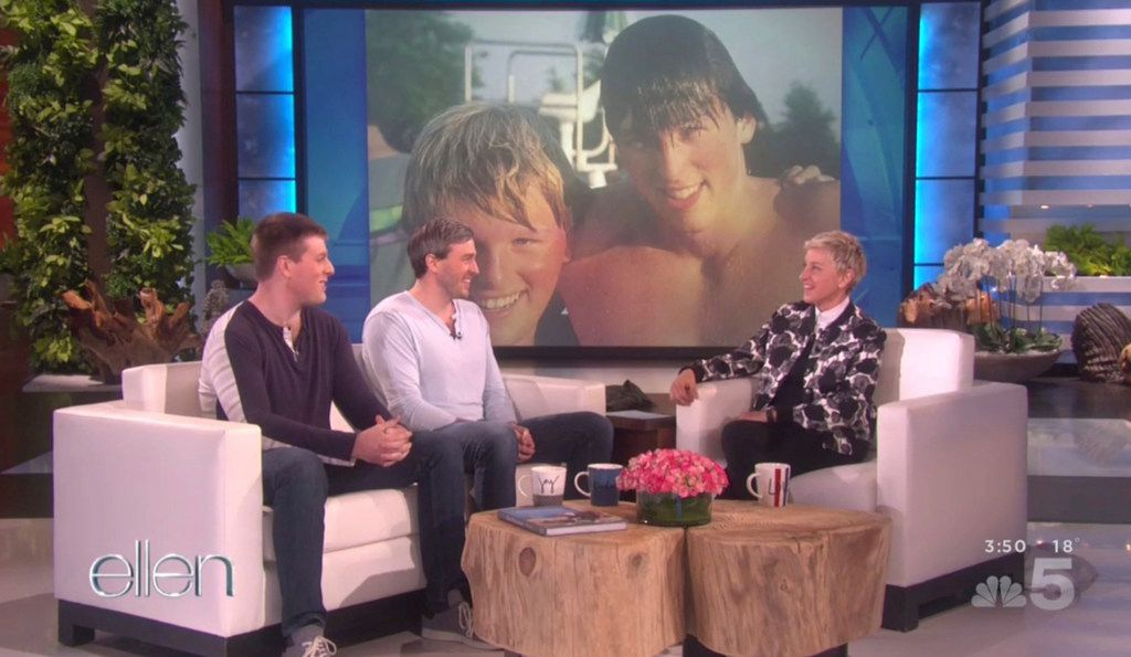 Bryan, left, and Bradford Manning with Ellen DeGeneres on her show that aired Jan. 4, 2017.