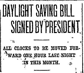 Daylight Saving Bill story in The Dallas Morning News in 1918.