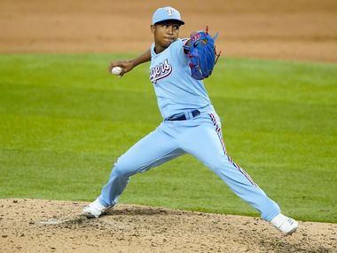 Texas Rangers pitcher Jose Leclerc pitches during the ninth inning against the Colorado Rockies at Globe Life Field on Sunday, July 26, 2020. (Smiley N. Pool/The Dallas Morning News)