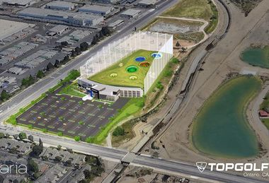 A rendering of the Topgolf site planned for Ontario, Calif. The company expects new facilities in Ontario and El Segundo to open in early 2022.