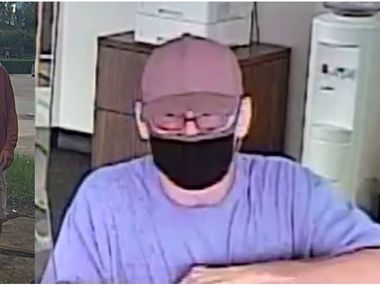 Dallas police on Tuesday shared images of a man who they suspect has robbed several Dallas-area banks in recent weeks.