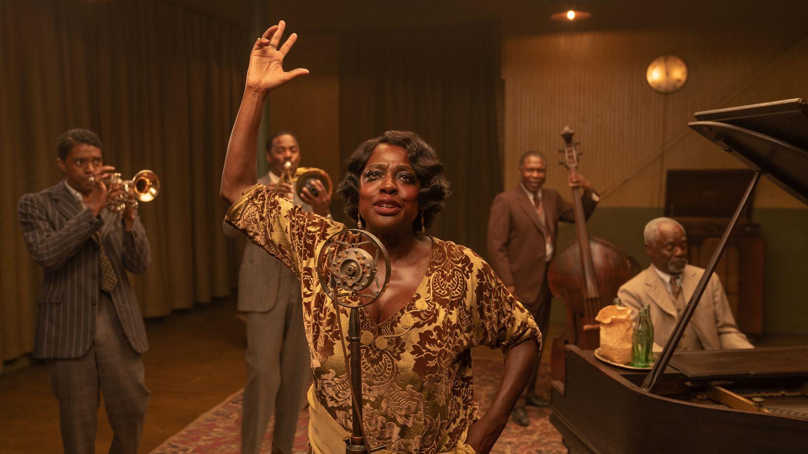 "Chadwick Boseman (from left), Colman Domingo, Viola Davis, Michael Potts and Glynn Turman star in ""Ma Rainey's Black Bottom."""