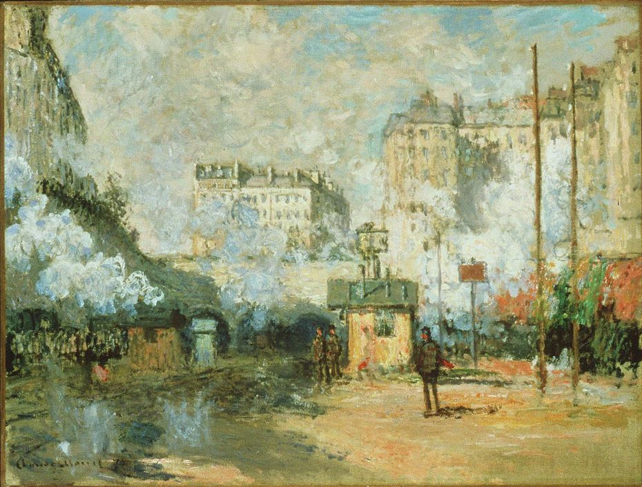 """Claude Monet's Outside the Gare Saint-Lazare: View of the Batignolles Tunnels in Sunshine, 1877 was part of the show, """"Manet, Monet and the Gare Saint-Lazare,"""" which opened in 1998 at the National Gallery of Art in Washington. (AP Photo/National Gallery of Art)"""