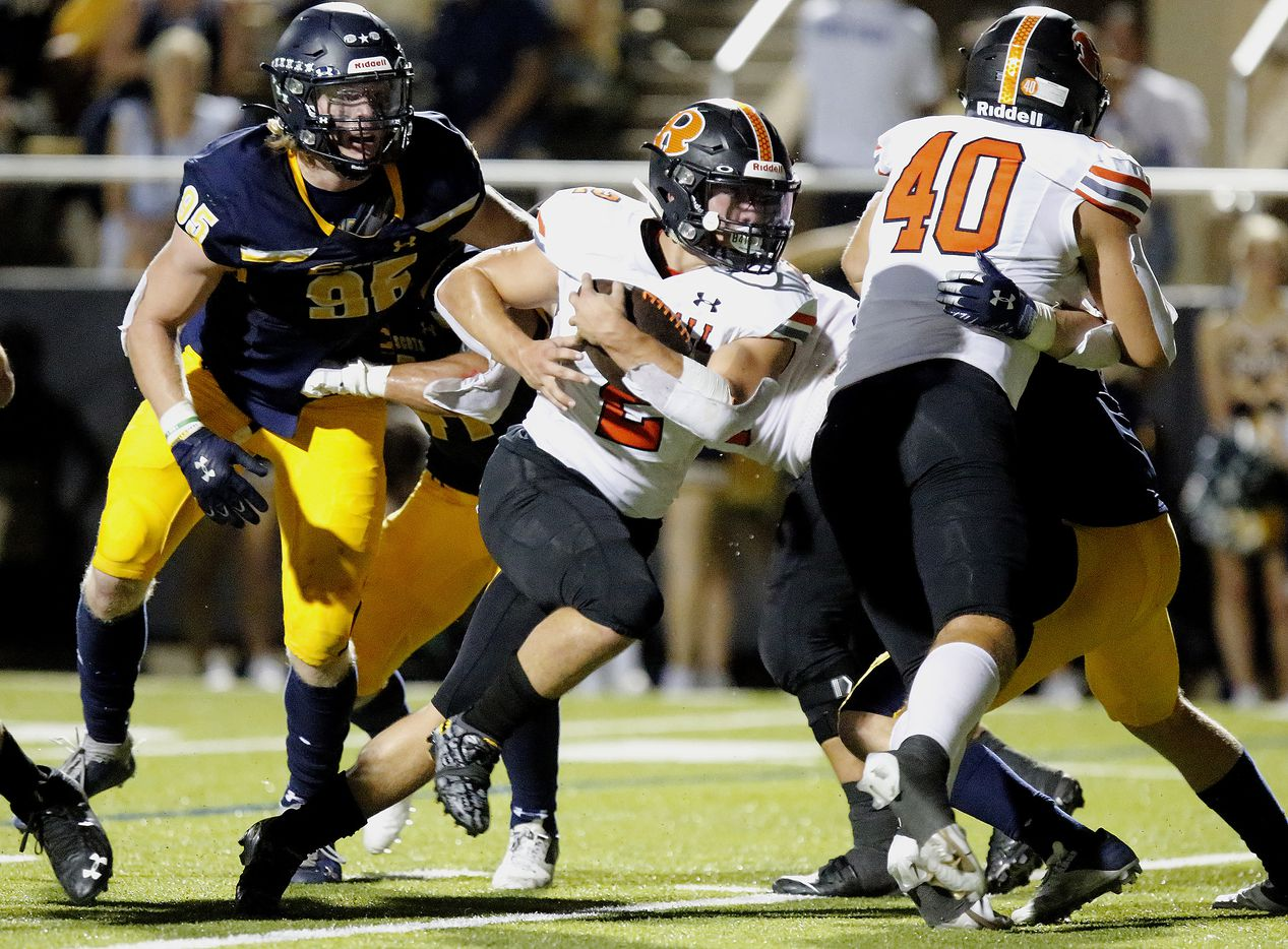 Rockwall High School running back Zach Hernandez (2) carries the ball into the end zone for a touchdown during the first half as Highland Park High School hosted Rockwall High School at Highlander Stadium in Dallas on, Friday, September 17, 2021. (Stewart F. House/Special Contributor)
